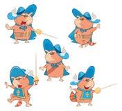 Set of Cartoon Illustration Cute Cats Royalty Free Stock Photo