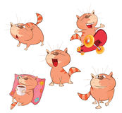 Set of Cartoon Illustration Cute Cats Stock Images