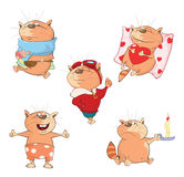 Set of Cartoon Illustration. A Cute Cats for you Design Royalty Free Stock Photos