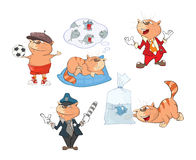 Set of Cartoon Illustration. A Cute Cats for you Design Stock Images