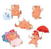 Set of Cartoon Illustration. A Cute Cats for you Design. Set of various red cats Stock Photos