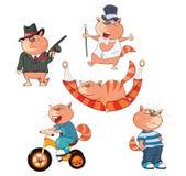 Set Cartoon Illustration Cute Cats for you Design Stock Photo
