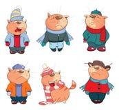 Set Cartoon Illustration Cute Cats for you Design Stock Photos