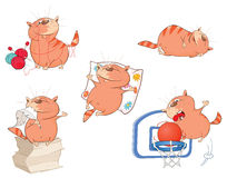 Set of Cartoon Illustration. Cute Cats for you Design Royalty Free Stock Photography