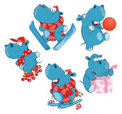 Set of Cartoon Illustration Cute Hippo for you Design Cartoon Character vector illustration