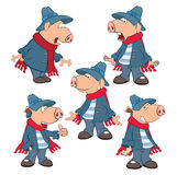 Set of Cartoon Illustration Cute Pigs for you Design Stock Image