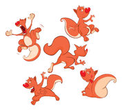 Set of Cartoon Illustration. A Cute Squirrel for you Design Royalty Free Stock Image