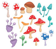 Set of Cartoon Illustration.A Different Mushrooms for a Computer Game and you Design Stock Photo