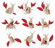 Set of  Cartoon Illustration Dragons for you Design. Set of various little funny red dragons with wings Royalty Free Stock Images