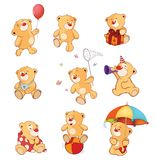 Set of  Cartoon Illustration Stuffed Bears for you Design. Set of various little yellow bears Stock Photography