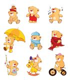 Set of  Cartoon Illustration Stuffed Bears for you Design Royalty Free Stock Photos