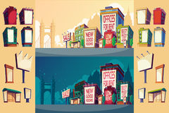 Set cartoon illustration of an urban landscape with buildings and a large billboard on the wall. Stock Image