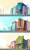 Set cartoon illustration of an urban landscape with the buildings of old and modern cinemas. Stock Photo
