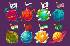 Set of cartoon illustrations fantasy alien planets with fluttering flags on them. Funny elements for design different universe Stock Photos