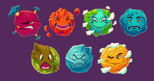 Set of cartoon illustrations fantasy alien planets showing different emotions. Funny elements for design different universe Royalty Free Stock Image