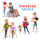 Set of cartoon illustrations of people with disabilities isolated on white. Set of cartoon illustrations of people with disabilities among others. Men with Royalty Free Stock Image