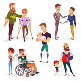Set of cartoon illustrations of people with disabilities isolated on white. Set of cartoon illustrations of people with disabilities among others. Men with Royalty Free Stock Photos