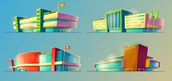 Set of cartoon illustrations, various supermarket buildings, shops, large malls, stores. Set of cartoon illustrations, various supermarket buildings, shops in an Royalty Free Stock Photo