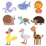 Set of cartoon images of animals. A collection of funny animals. Cute cartoon animals vector illustration