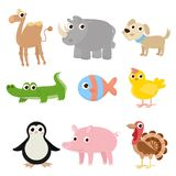 Set of cartoon images of animals. A collection of funny animals. Cute cartoon animals royalty free illustration