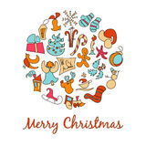 A set of cartoon images for the Christmas and New Year 2017. Eve. Xmas. Stock Photos