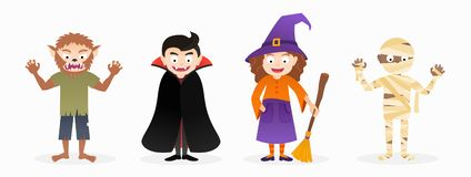 Set of cartoon isolated halloween costume characters. Witch, mummy, werewolf, vampire stock illustration