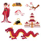 Set of cartoon Japanese culture elements, symbols. Set of Japanese culture elements - geisha, sakura, koi, sushi, pagoda, tea, dragon, cartoon vector Stock Image