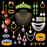 Set of cartoon jewelry accessories Stock Images