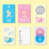 Set of journaling cards for newborn baby. Set of cartoon journaling cards for newborn baby. Vector templates for scrapbooking, greeting or gift cards, patterns vector illustration