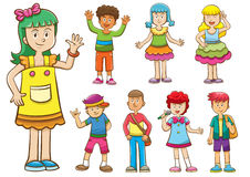 Set of cartoon kids. Royalty Free Stock Image
