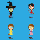 Set Of Cartoon Kids With Halloween Costumes Royalty Free Stock Photos
