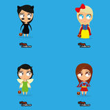 Set Of Cartoon Kids With Halloween Costumes Stock Photography