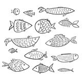Set of cartoon kids  outline fishes Royalty Free Stock Images
