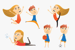 Set of cartoon kids use for advertising or presentation. vector Royalty Free Stock Photo
