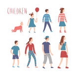 Set of cartoon kids in various ages Royalty Free Stock Photography