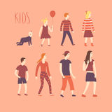 Set of cartoon kids in various ages Royalty Free Stock Photo