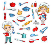Set of cartoon kitchen ware. And two cute cook. Vector children illustration. Isolated on white Stock Photo