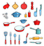 Set of cartoon kitchen ware. Vector children illustration. Isolated on white Stock Photo