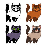 Set of Cartoon Kitties or Cats. Vector Royalty Free Stock Images