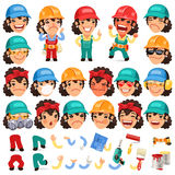 Set of Cartoon Lady Worker Character for Your Royalty Free Stock Photos