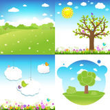 Set Cartoon Landscape Royalty Free Stock Photo
