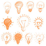 Set of cartoon light bulbs. Symbol ideas Royalty Free Stock Photo
