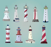 Set of cartoon lighthouses. Flat icons. Royalty Free Stock Image