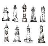 Set of cartoon lighthouses. icons. pencil drawing. Style. vector EPS 10 Royalty Free Stock Images