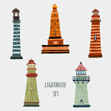 Set of cartoon lighthouses. Royalty Free Stock Photos