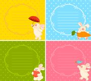 set of cartoon little toy bunny Stock Images