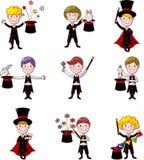 Set of Cartoon magician. Vector,illustration Stock Photos