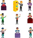 Set of Cartoon magician Stock Photography
