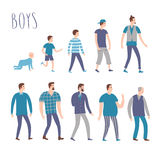 Set of cartoon males in various lifestyles and ages Stock Images