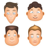 Set cartoon man face. Vector illustration, character design in 3D puppet style. Head of different shapes and with different emotions Royalty Free Stock Image